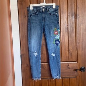 Zara distressed flower embroidered jeans